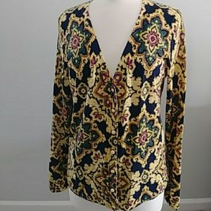 NEW WITH TAGS TALBOTS NAVY & GOLD SWEATER LARGE
